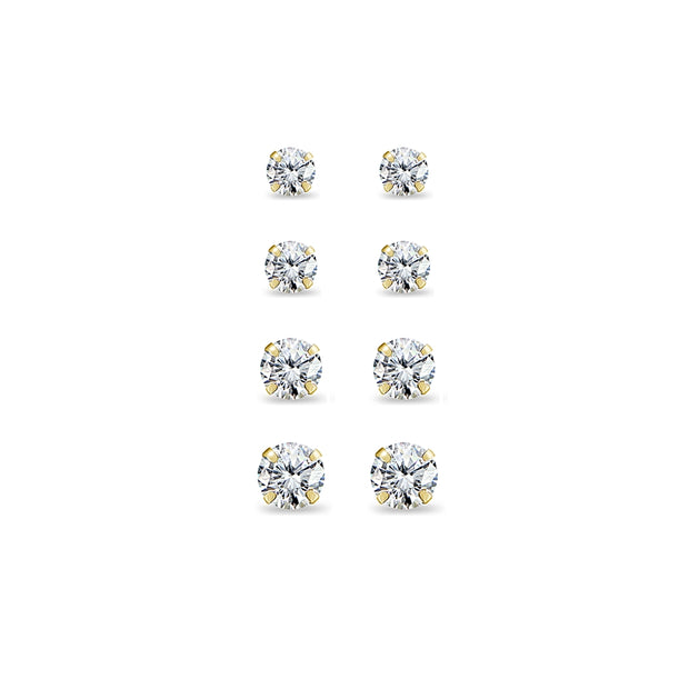 4 Pair Set 14K Yellow Gold Cubic Zirconia Round Stud Earrings, 2mm 3mm 4mm 5mm