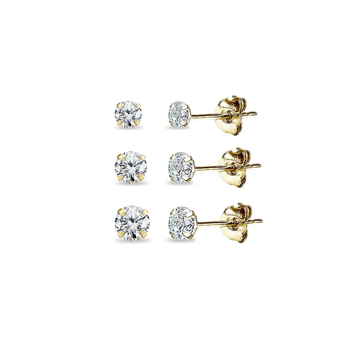 3 Pair Set 14K Yellow Gold Cubic Zirconia Round Stud Earrings, 3mm 4mm 5mm