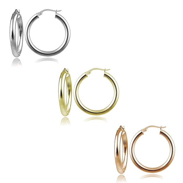 Sterling Silver Tri Color 3x25mm Polished Round Hoop Earrings Set of 3
