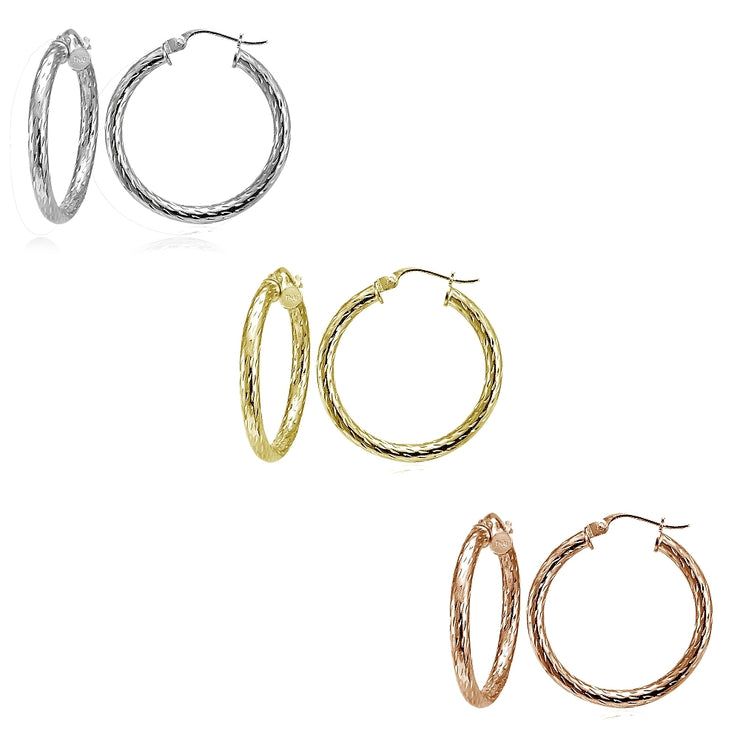 Sterling Silver Tri Color 2.5x25mm Diamond-Cut Polished Hoop Earrings Set of 3