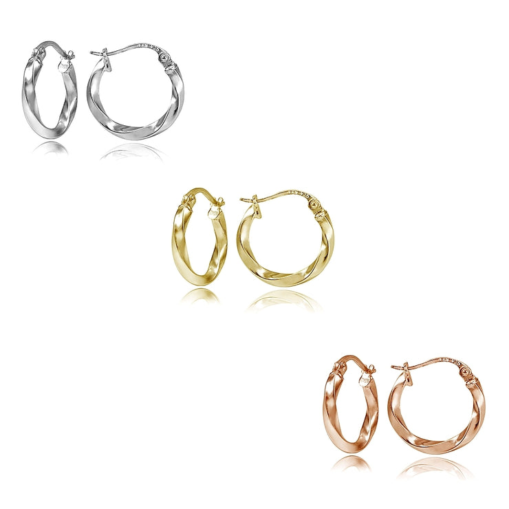 Sterling Silver Tri Color 2x15mm Twist Polished Hoop Earrings Set of 3