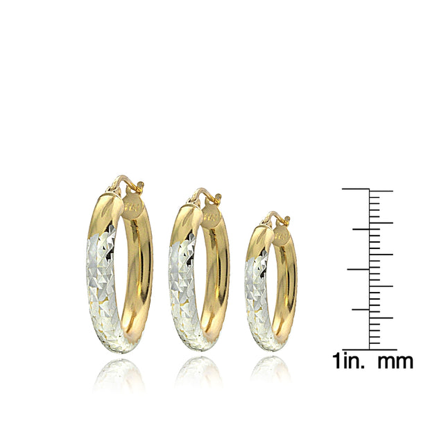 Gold Over Sterling Silver Two-Tone Diamond-Cut Polished Hoop Earrings Set of 3