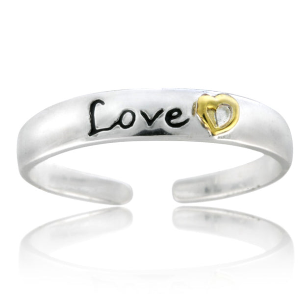 Sterling Silver Two-Tone Heart Love Anklet and Toe Ring Set