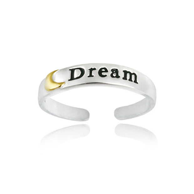 Sterling Silver Two-Tone Moon Dream Anklet and Toe Ring Set