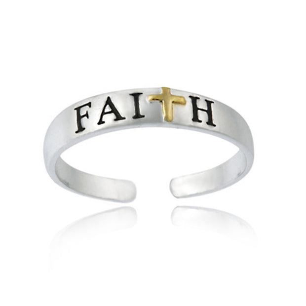 Sterling Silver Two-Tone Cross Faith Anklet and Toe Ring Set