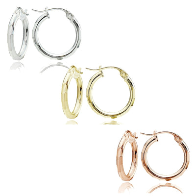Sterling Silver Tri Color 2x15mm Polished Hammered Design Hoop Earrings, Set of 3