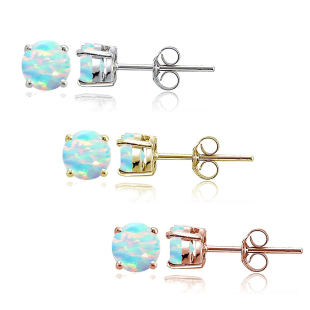 Sterling Silver, Gold Tone and Rose Gold Tone Created White Opal 4mm Round Earrings Set of 3