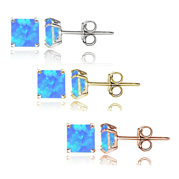 Sterling Silver Tri Color Created Blue Opal 4mm Square Earrings Set of 3