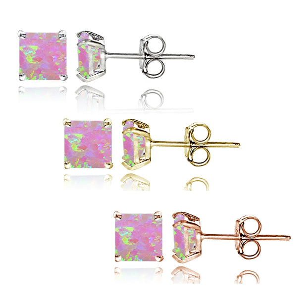 Sterling Silver Tri Color Created Pink Opal 4mm Square Earrings Set of 3
