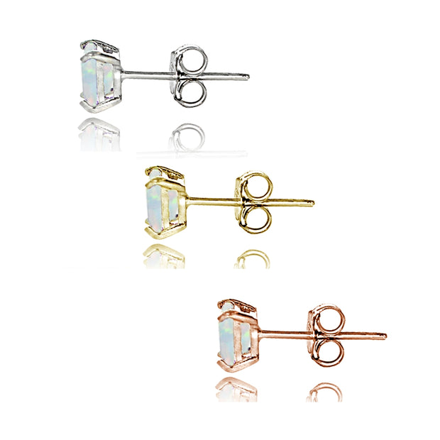 Sterling Silver Tri Color Created White Opal 4mm Square Earrings Set of 3