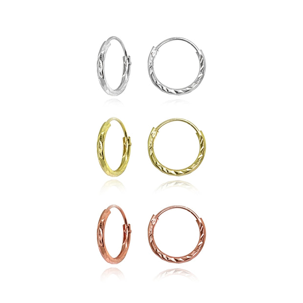 3 Pair Set Sterling Silver Tri-Color Diamond-Cut Tiny Small Endless 10mm Thin Round Unisex Hoop Earrings