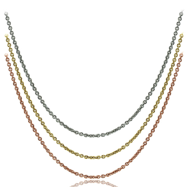 Sterling Silver, Gold Flash and Rose Gold Flash Thin 1mm Rolo Cable Chain Necklace Set, 20 Inches