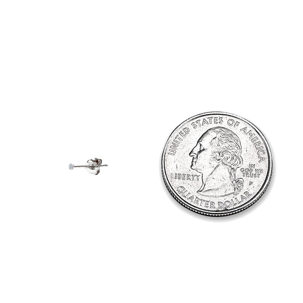 2 Pair Set 14K White Gold Cubic Zirconia Tiny 2mm Round Stud Earrings for Men, Women, Boys & Girls