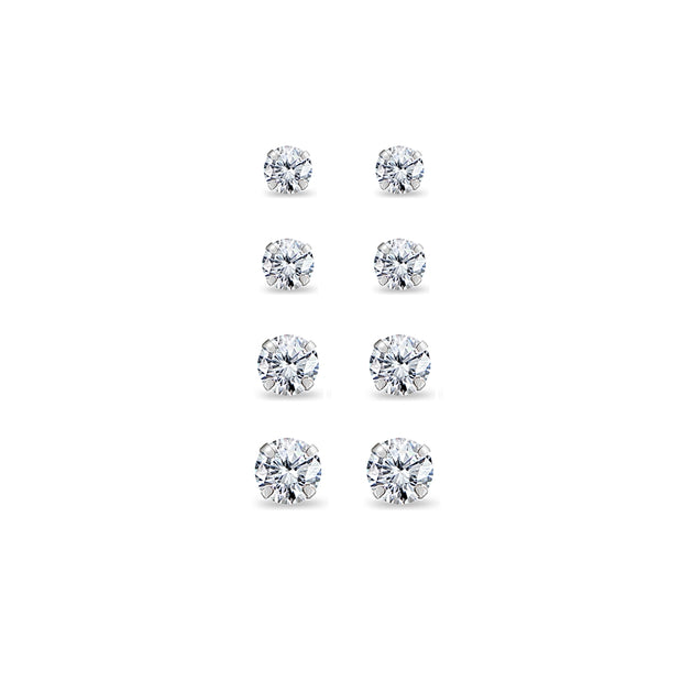 4 Pair Set 14K White Gold Cubic Zirconia Round Stud Earrings, 2mm 3mm 4mm 5mm