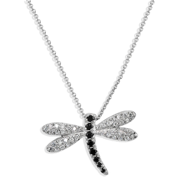 Sterling Silver Clear & Black Cubic Zirconia Dragonfly Necklace