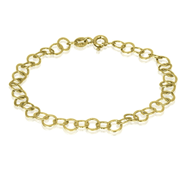 Yellow Gold Flashed Sterling Silver Flat Round Link Chain Bracelet, 7.5 Inch