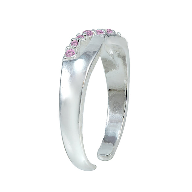 Sterling Silver Light Pink CZ Infinity Toe Ring