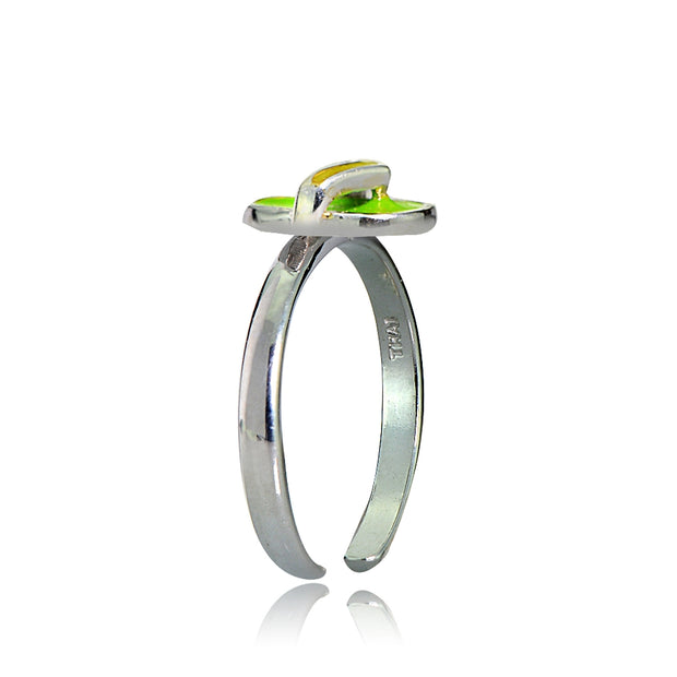 Sterling Silver Green Enamel Flip Flop Toe Ring