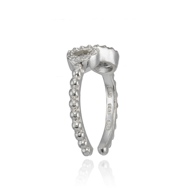 Sterling Silver Cubic Zirconia Rope Infinity Toe Ring