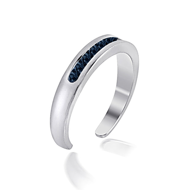 Sterling Silver Channel Set Simulated Sapphire Toe Ring