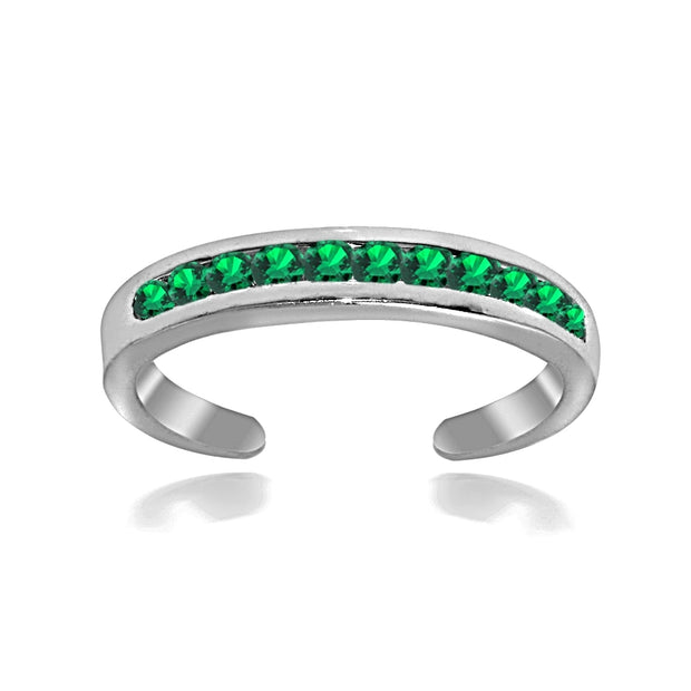 Sterling Silver Channel Set Simulated Emerald Toe Ring