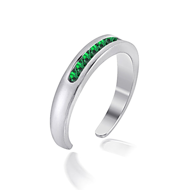 Sterling Silver Channel Set Created Emerald Toe Ring
