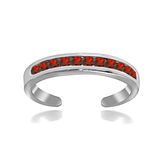 Sterling Silver Channel Set Simulated Ruby Toe Ring