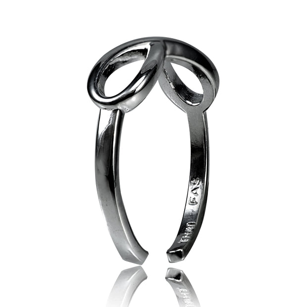 Black Flashed Sterling Silver Figure 8 Infinity Toe Ring