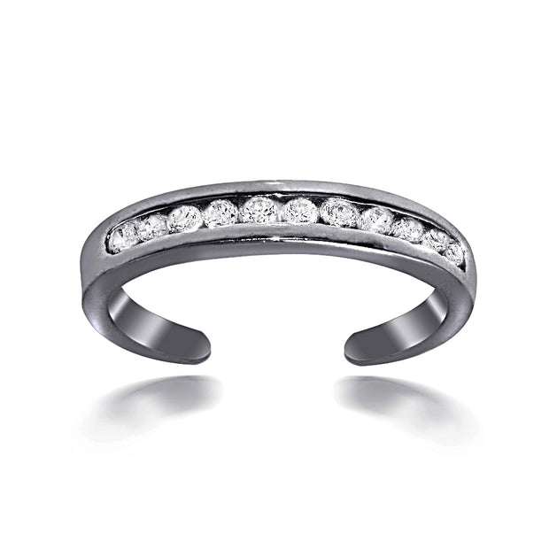 Black Flash Sterling Silver Channel Set Cubic Zirconia Toe Ring