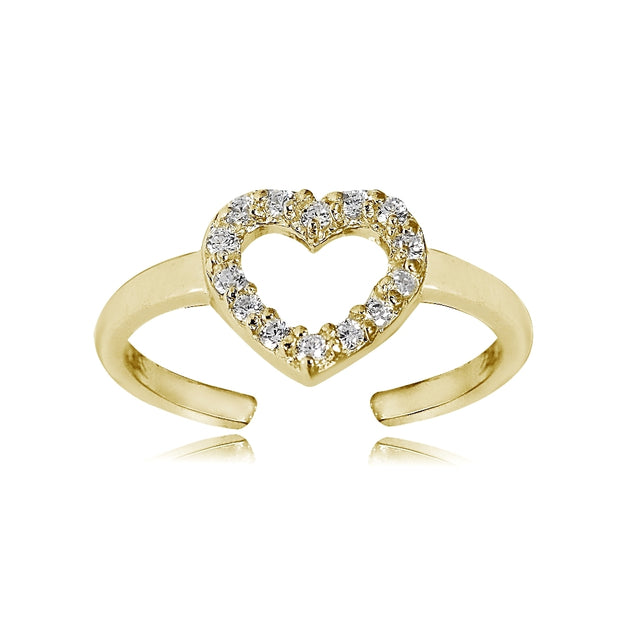 Gold Tone over Sterling Silver Cubic Zirconia Heart Toe Ring