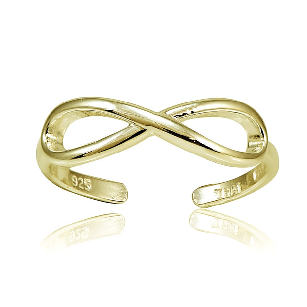 Yellow Gold Flashed Sterling Silver Figure 8 Infinity Toe Ring