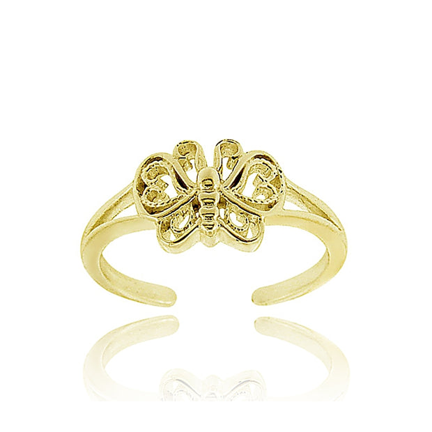 18K Gold over Sterling Silver Butterfly Toe Ring