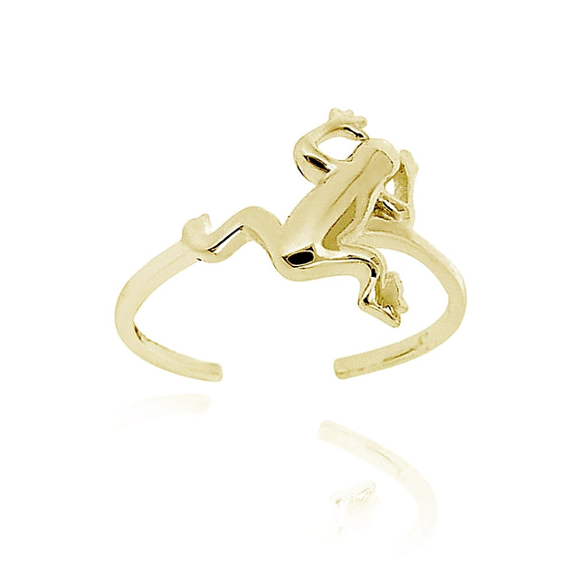 18K Gold over Sterling Silver Jumping Frog Toe Ring