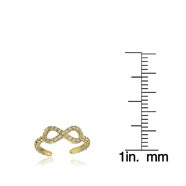 Yellow Gold Flashed Sterling Silver Cubic Zirconia Rope Infinity Toe Ring