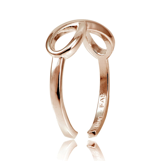 Rose Gold Flashed Sterling Silver Figure 8 Infinity Toe Ring