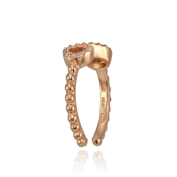 Rose Gold Flashed Sterling Silver Cubic Zirconia Rope Infinity Toe Ring
