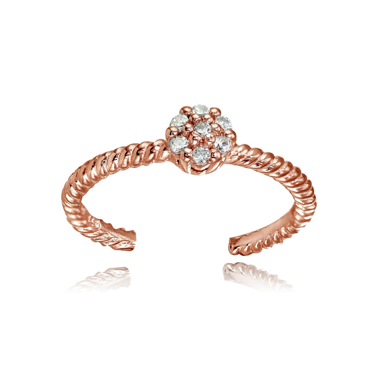 Rose Gold Flashed Sterling Silver Cubic Zirconia Flower Rope Toe Ring