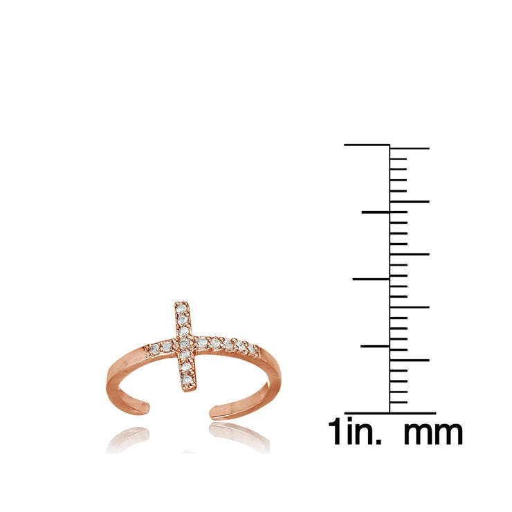 Rose Gold Flashed Sterling Silver Cubic Zirconia Sideways Cross Toe Ring