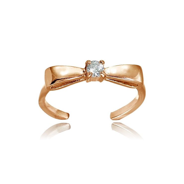 Rose Gold Flashed Sterling Silver Cubic Zirconia Bow Tie Toe Ring