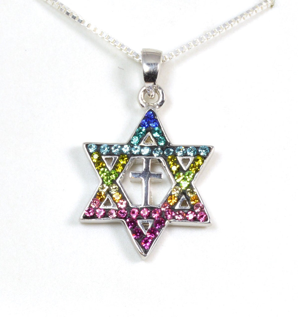 Star of david with cross pendant necklace star of david with cross pendant necklace aloadofball Gallery
