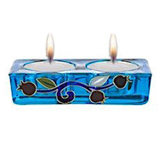 Glass Pomegranates Tealight Candle Holder (Blue)