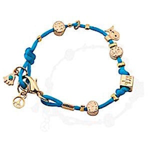 Blue Silk Gold Plated Charm Bracelet - Peace by Or Jewelry