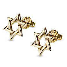 Contemporary 14K Gold Star of David Stud Earrings