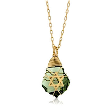 Crystal and Gold Filled Postmodern Star of David Necklace (Light Green) with a black leather cord 17.7 inches