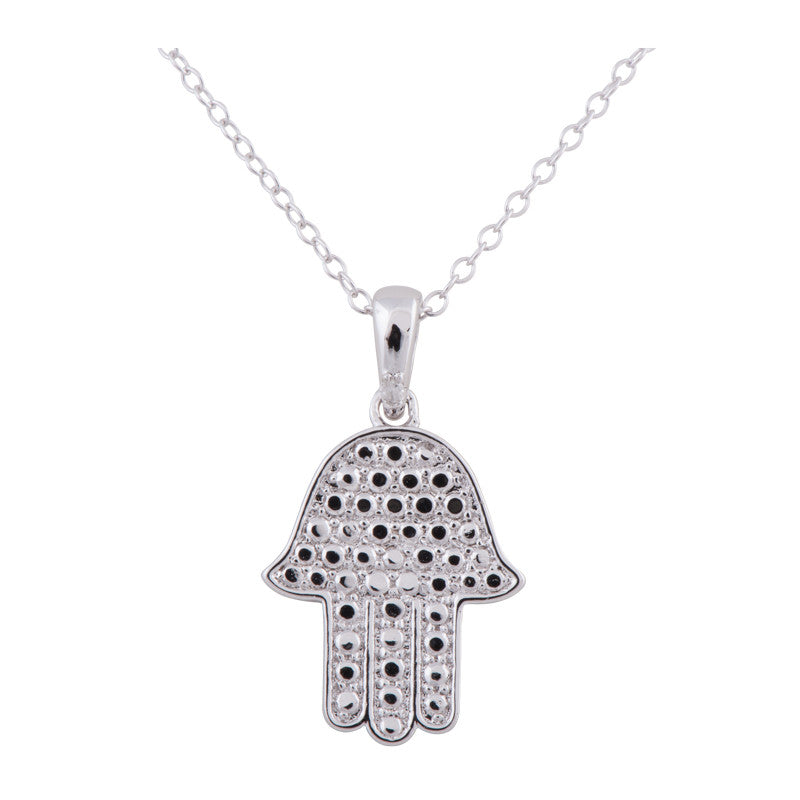 Sterling Silver Rhodium Plated Diamond Accent Hamsa Hand Necklace, 18""