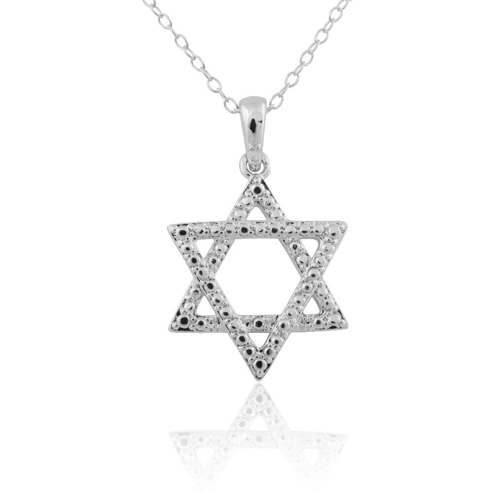 Sterling Silver Diamond Accent Star of David Necklace