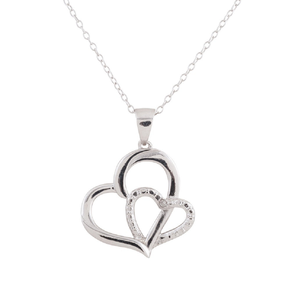 Sterling Silver Rhodium Plated Diamond Accent Double Heart Necklace, 18""