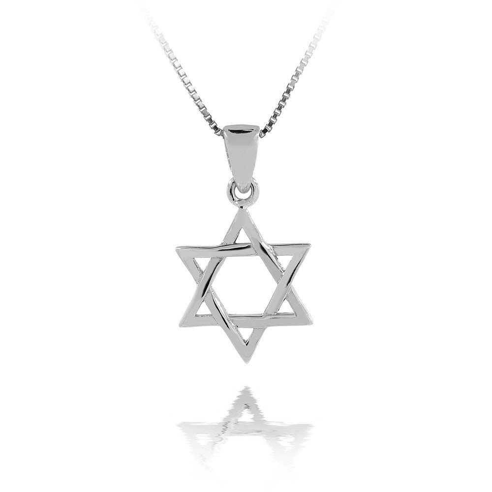 "Sterling Silver Star of David Necklace With 24"" Silver Chain"