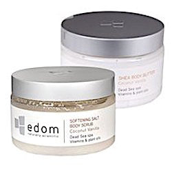 Edom Shea Body Butter and Softening Salt Body Scrub (Coconut Vanilla)