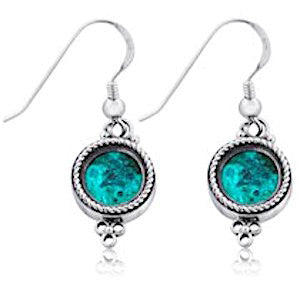 Eilat Stone and Silver Circle Earrings
